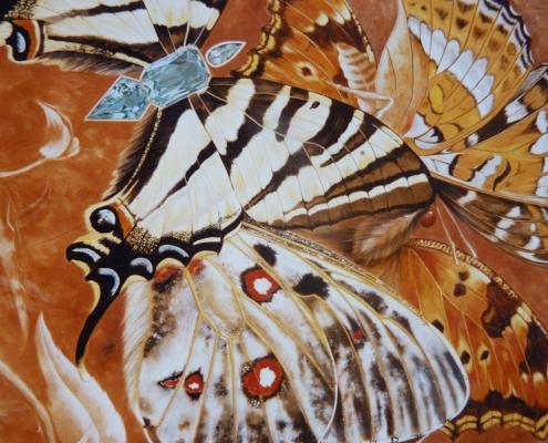 Réalisation d'un dyptique pour une bijouterie - côté papillons / France - Alain Grand Peintre décorateur