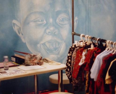 Détail d'une toile peinte en guise de parois pour le stand de salon de Ernest le Gamin / France - Alain Grand Peintre décorateur
