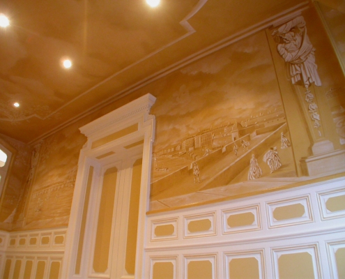 Fresque à l'entrée de l'ancienne ambassade de Belgique de Bordeaux / France - Alain Grand Peintre décorateur