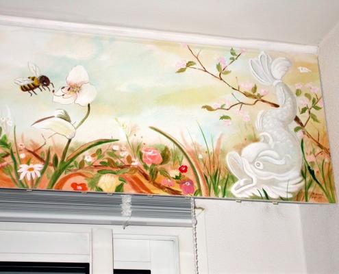 Détail d'une peinture réalisée au dessus d'une baie vitrée / France - Alain Grand Peintre décorateur