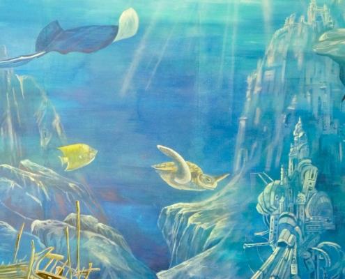 """Fresque """"fonds marins"""" peinte dans l'espace jeunes du camping La Palmyre / France - Alain Grand Peintre décorateur"""
