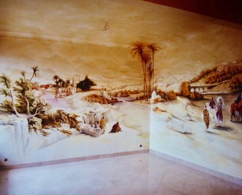 Fresque orientale peinte dans le salon d'un particulier / France - Alain Grand Peintre décorateur