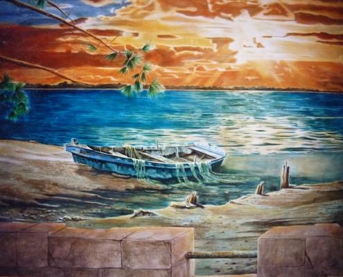 Mur peint chez un traiteur / France - Alain Grand Peintre décorateur