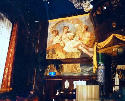 """Reproduction géante d'une peinture de """"Boucher"""" dans une boite de nuit / Japon - Alain Grand Peintre décorateur"""