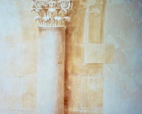 Colonne peinte en trompe l'œil dans une entrée d'imeuble d'hotel particulier /France - Alain Grand Peintre décorateur