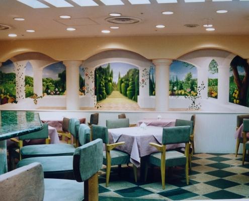 Trompe l'œil dans un restaurant italien / Japon - Alain Grand Peintre décorateur