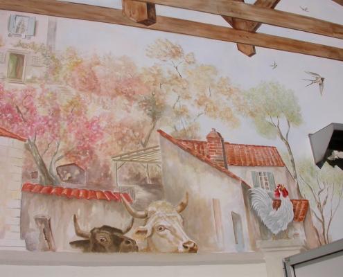 Charpente en Trompe l'œil sur façade 2 d'une boucherie /France - Alain Grand Peintre décorateur