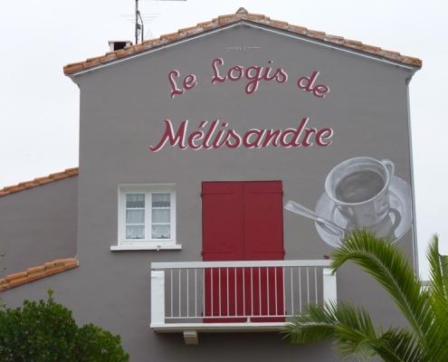 Fresque en façade -Lettrages et trompe l'œil / France - Alain Grand Peintre décorateur