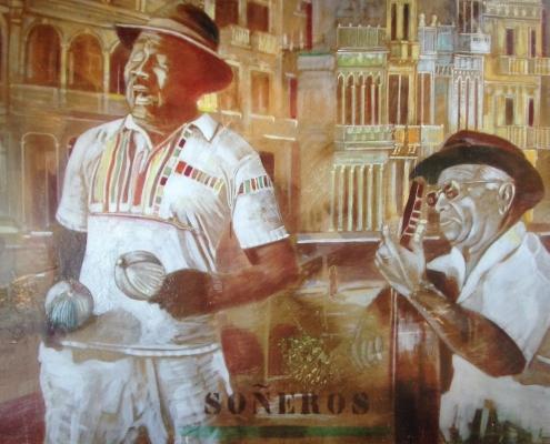 Fresque interieure /Scènes cubaines sur panneaux peints Saint-Malo /France - Alain Grand Peintre décorateur Charente Maritime