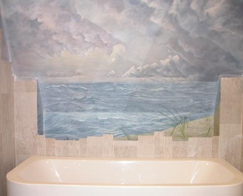 Vague peinte dans une salle de bains / France - Alain Grand Peintre décorateur