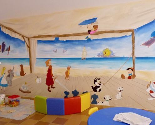 """Fresque peinte dans l'espace """"enfants"""" du camping La Palmyre / France - Alain Grand Peintre décorateur"""