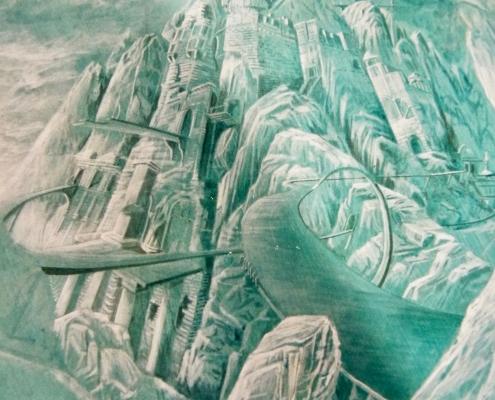 Labyrinthe peint au plafond chez un dentiste/ France - Alain Grand Peintre décorateur