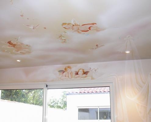 Plafond du décor à l'italienne chez un dentiste/ France - Alain Grand Peintre décorateur