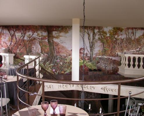 Grande fresque peinte sur le thème des ruines d'Angkor - Restaurant La Siesta / France