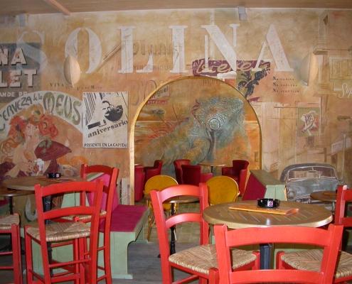 Grande fresque peinte sur le thème de l'Amérique du sud - L'Iguana Café / France - Alain Grand Peintre décorateur